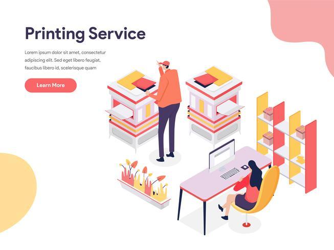 Printing Service Illustratie Concept. Isometrisch ontwerpconcept webpaginaontwerp voor website en mobiele website Vector illustratie