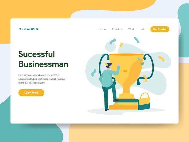 Modelo de página de aterrissagem do empresário bem sucedido ilustração conceito. Conceito de design moderno plano de design de página da web para o site e site móvel.