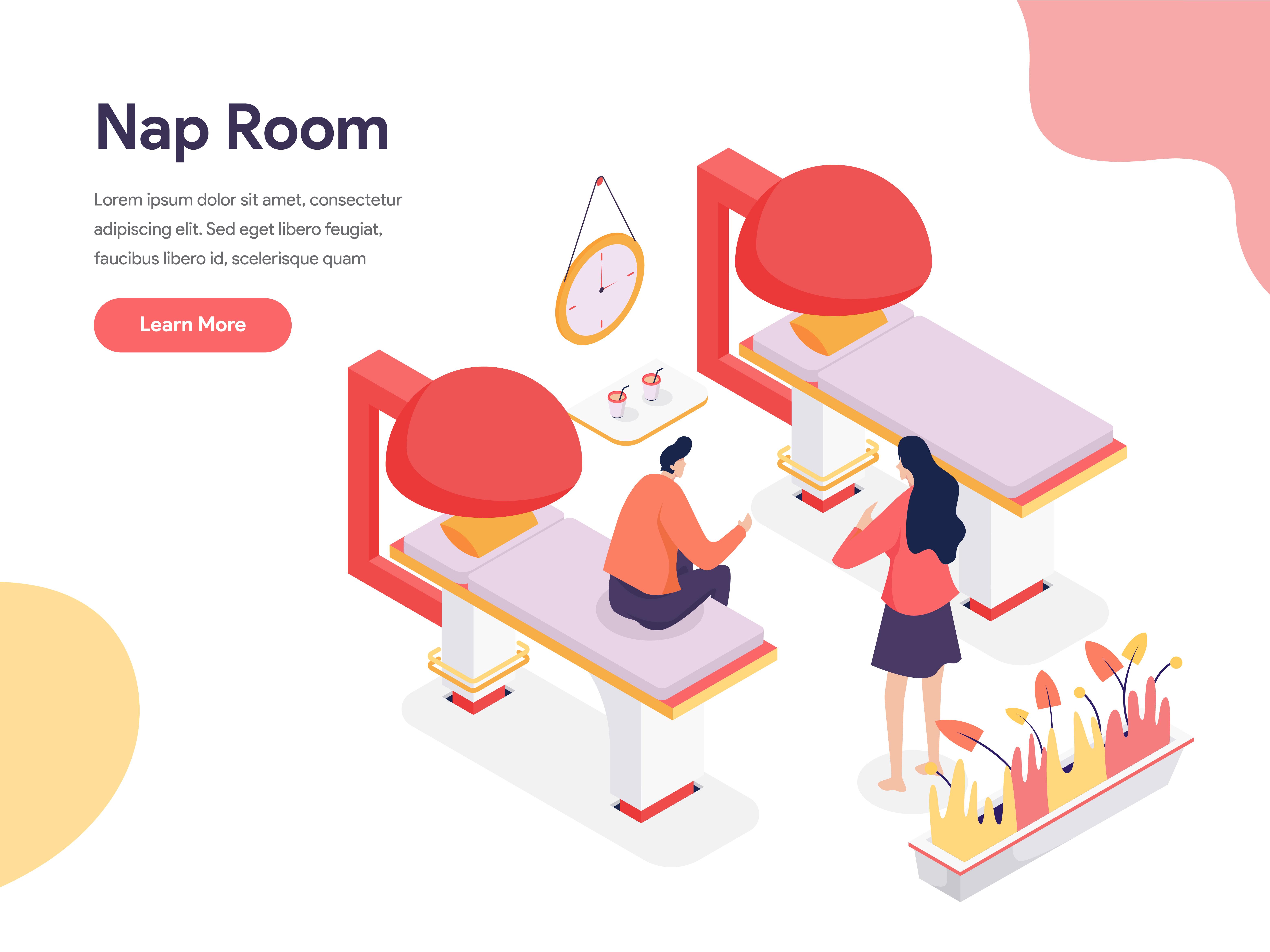 Nap room illustration concept isometric design concept of - Free room design website ...