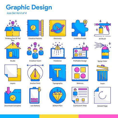 Conjunto de iconos de diseño gráfico. Línea y estilo de color plano. Vector eps 10