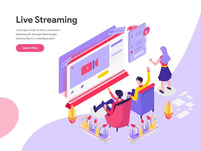 Landing page template of Live Streaming Isometric Illustration Concept. Isometric flat design concept of web page design for website and mobile website.Vector illustration