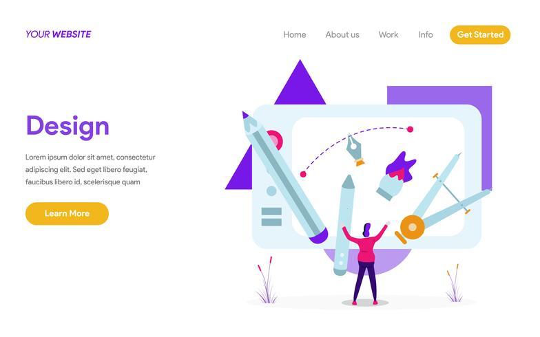 Landing page template of Design Illustration Concept. Modern flat design concept of web page design for website and mobile website.Vector illustration