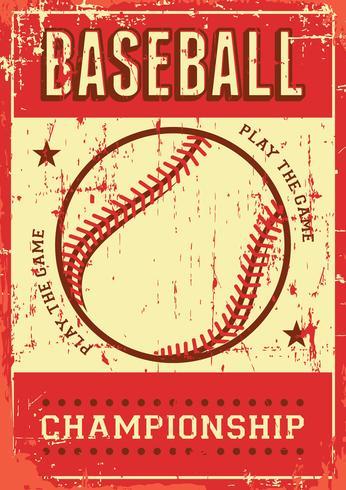 Signage retro do cartaz do pop art do esporte do basebol