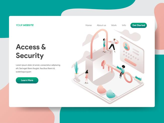 Modelo de página de aterrissagem de acesso e conceito de ilustração de segurança. Conceito de design isométrico do design de página da web para o site e site móvel. vetor