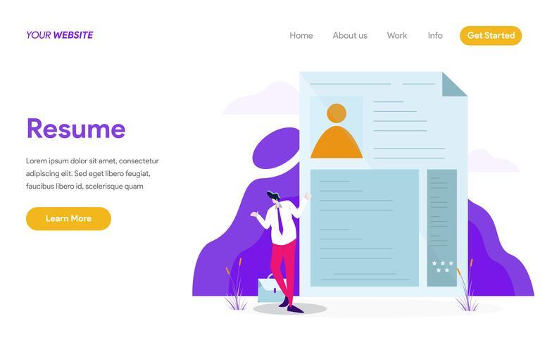 Plantilla de página de aterrizaje del concepto de ilustración de currículum. Concepto de diseño plano moderno de diseño de página web para sitio web y sitio web móvil. Ilustración de vector