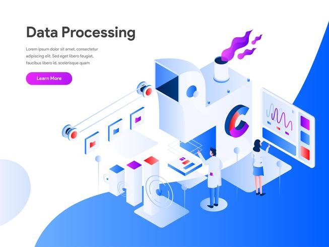 Data Processing Isometric Illustration Concept. Modern flat design concept of web page design for website and mobile website.Vector illustration EPS 10 vector