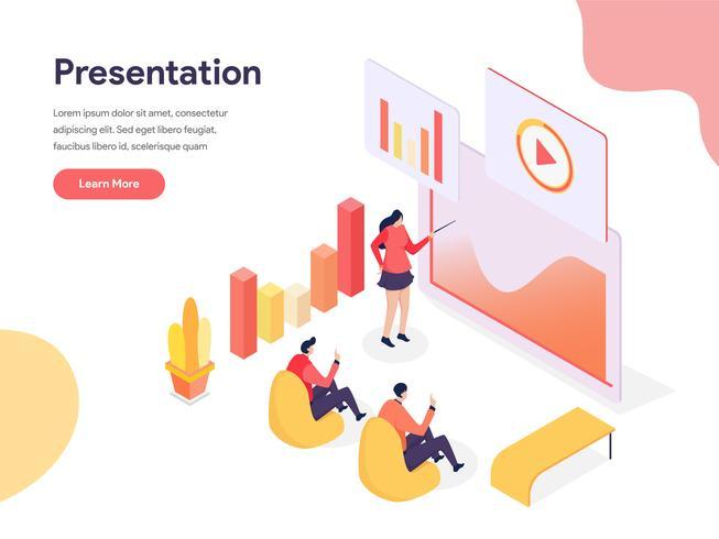 Concepto de ilustración de la tecnología de presentación. Concepto de diseño isométrico de diseño de página web para sitio web y sitio web móvil. Ilustración de vector