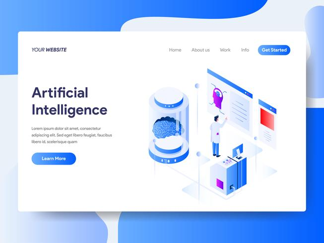 Landing page template of Artificial Intelligence Isometric Illustration Concept. Isometric flat design concept of web page design for website and mobile website.Vector illustration