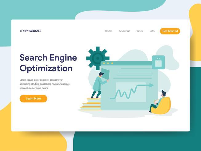 Plantilla de la página de aterrizaje del concepto de la ilustración de la optimización del Search Engine. Concepto de diseño plano moderno de diseño de página web para sitio web y sitio web móvil. Ilustración de vector