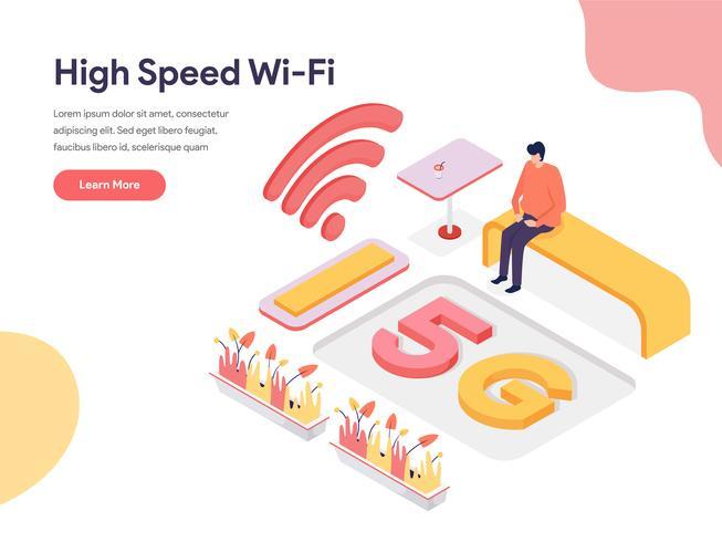 Concetto di illustrazione Wi-Fi ad alta velocità. Concetto di design isometrico di progettazione di pagine Web per sito Web e sito Web mobile. Illustrazione di vettore