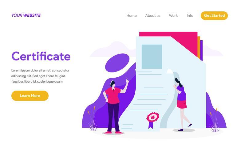 Modelo de página de destino do conceito de ilustração de certificado. Conceito moderno design plano de design de página da web para o site e site móvel.