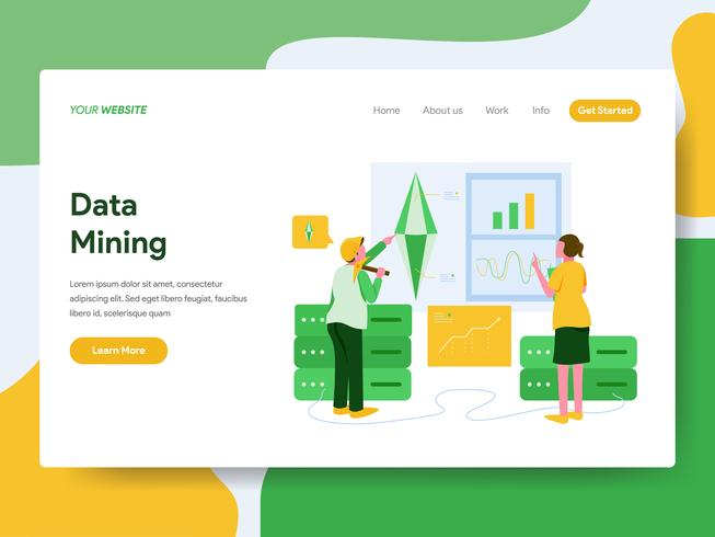 Landing page template of Data Mining Illustration Concept. Modern Flat design concept of web page design for website and mobile website.Vector illustration