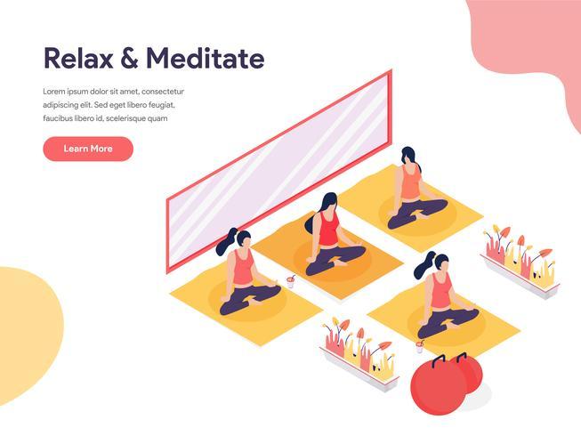Koppla av och meditera Isometric Illustration Concept. Isometrisk designkoncept för webbdesign för webbplats och mobilwebbplats. Vektorns illustration