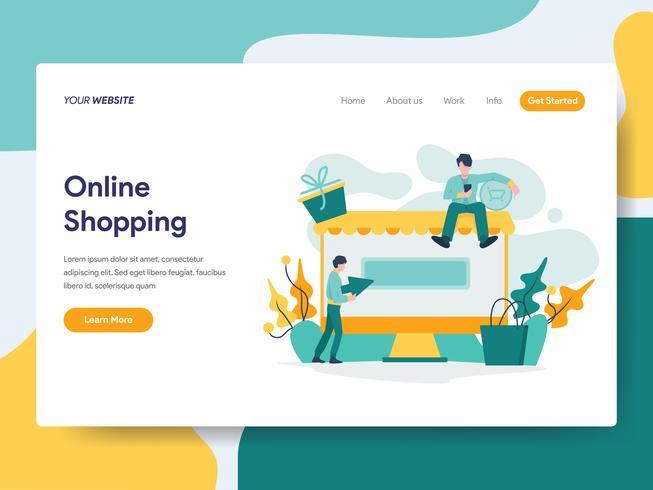 Landing page template of Online Shopping Illustration Concept. Modern flat design concept of web page design for website and mobile website.Vector illustration