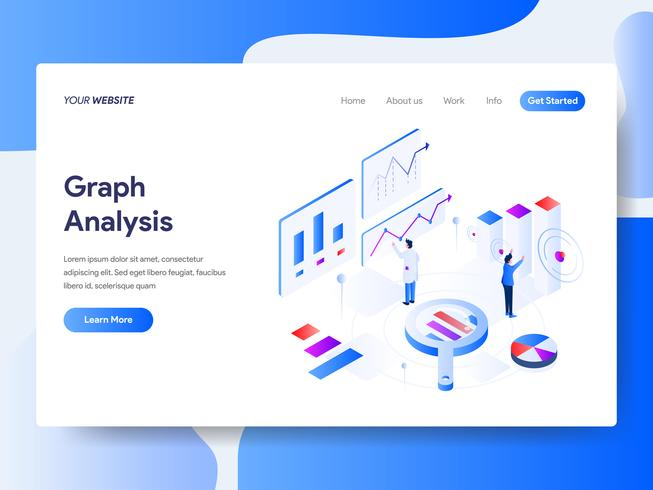 Landing page template of Graph Analysis Isometric Illustration Concept. Isometric flat design concept of web page design for website and mobile website.Vector illustration vector