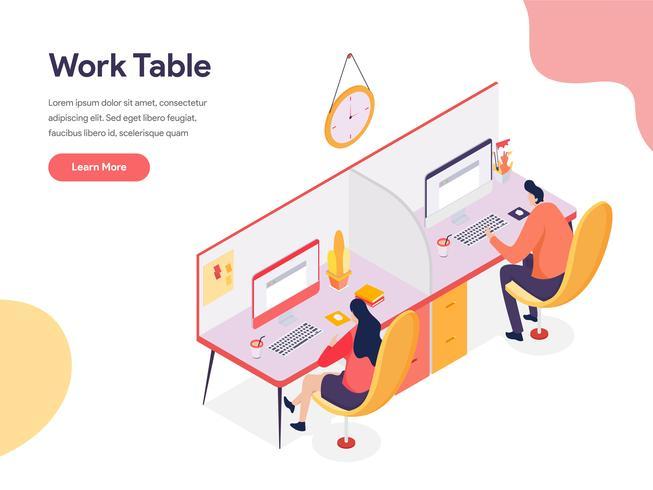 Conceito da ilustração da tabela de trabalho. Conceito de design isométrico do design de página da web para o site e site móvel.