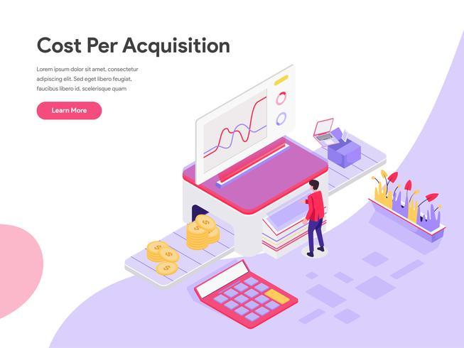 Molde da página da aterrissagem do conceito isométrico da ilustração do custo por a aquisição. Conceito de design plano isométrico de design de página da web para o site e site móvel.