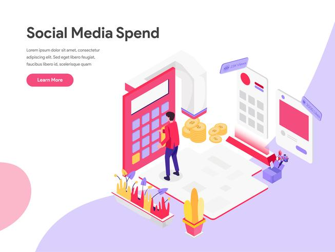 Landing page template of Digital Marketing Cost Isometric Illustration Concept. Isometric flat design concept of web page design for website and mobile website.Vector illustration vector