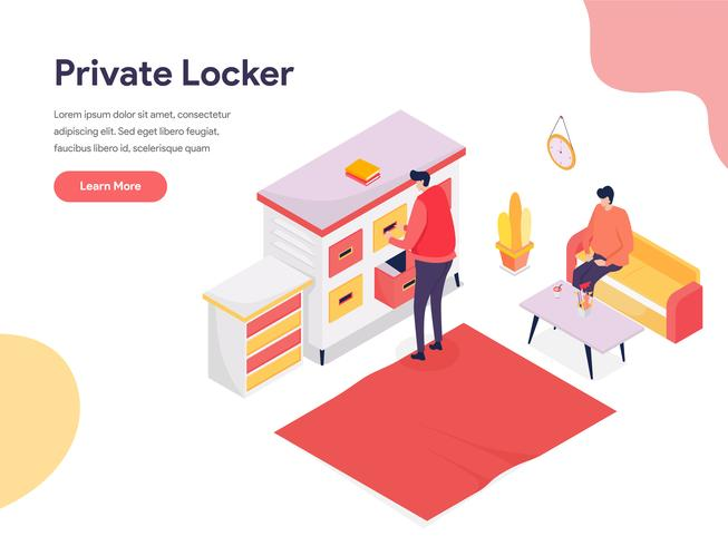 Secure Space and Private Locker Illustration Concept. Isometric design concept of web page design for website and mobile website.Vector illustration