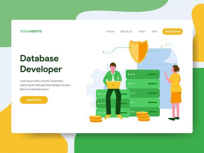 Landing page template of Database Developer Illustration Concept. Modern Flat design concept of web page design for website and mobile website.Vector illustration