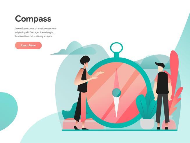 Visión y concepto de ilustración de brújula. Concepto de diseño plano moderno de diseño de página web para sitio web y sitio web móvil. Ilustración de vector EPS 10