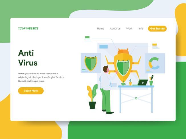 Målsida mall för Anti Virus Illustration Concept. Modernt plattdesign koncept av webbdesign för webbplats och mobil website.Vector illustration