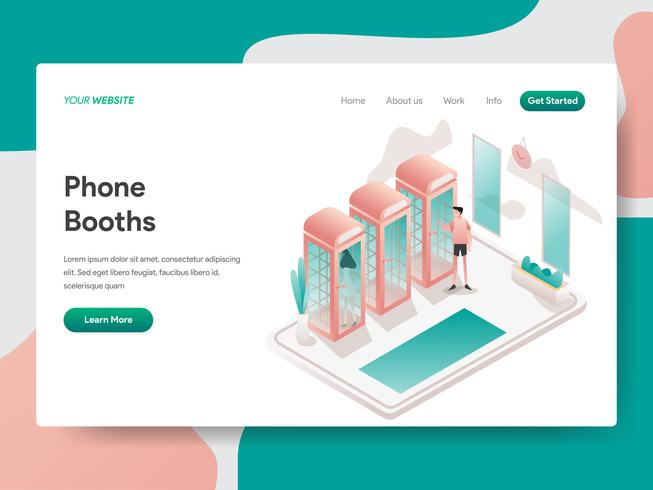 Landing page template of Phone Booth Illustration Concept. Isometric design concept of web page design for website and mobile website.Vector illustration