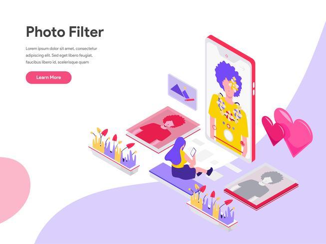 Plantilla de la página de aterrizaje del concepto isométrico del ejemplo del filtro de la foto. Concepto de diseño plano isométrico de diseño de página web para sitio web y sitio web móvil. Ilustración de vector