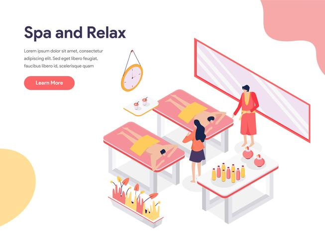 Relax and Spa Room Illustration Concept. Isometric design concept of web page design for website and mobile website.Vector illustration