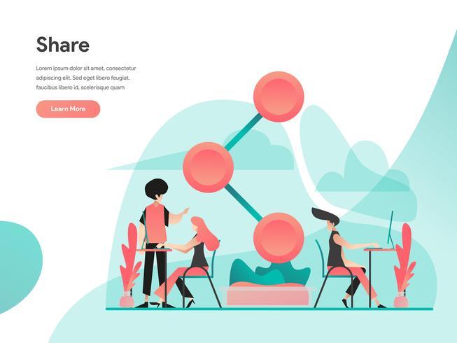 Compartilhar o conceito de ilustração. Conceito de design moderno apartamento de design de página da web para o site e site móvel. Ilustração vetorial EPS 10