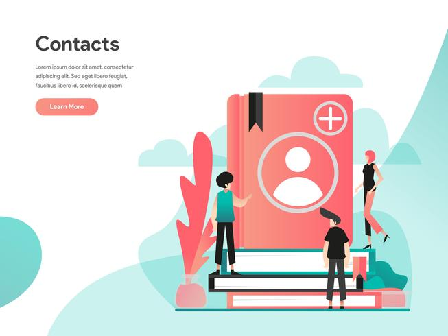 Phone Contacts Illustration Concept. Modern flat design concept of web page design for website and mobile website.Vector illustration EPS 10 vector