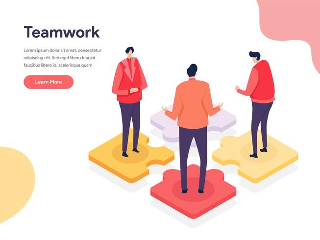 Collaborative Environment Illustration Concept. Isometric design concept of web page design for website and mobile website.Vector illustration vector