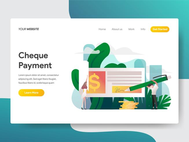 Landing page template of Cheque Payment Illustration Concept. Modern flat design concept of web page design for website and mobile website.Vector illustration