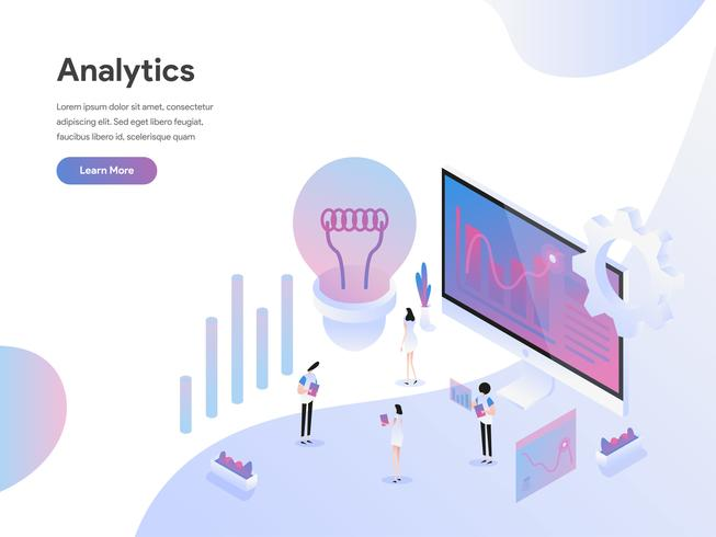 Landing page template of Data Analysis Isometric Illustration Concept. Isometric flat design concept of web page design for website and mobile website.Vector illustration vector