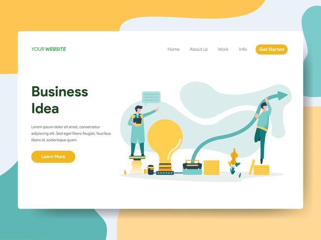 Plantilla de la página de aterrizaje del concepto de la ilustración de la idea del negocio. Concepto de diseño plano moderno de diseño de página web para sitio web y sitio web móvil. Ilustración de vector