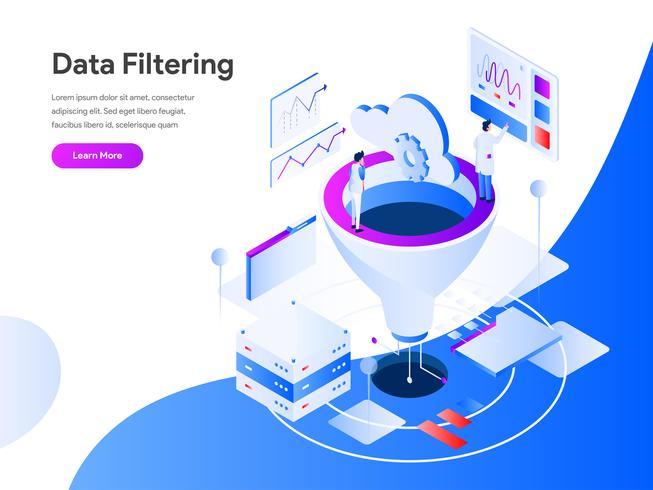 Datafiltrering Isometric Illustration Concept. Modernt plandesignkoncept av webbdesign för webbplats och mobilwebbplats. Vector illustration EPS 10