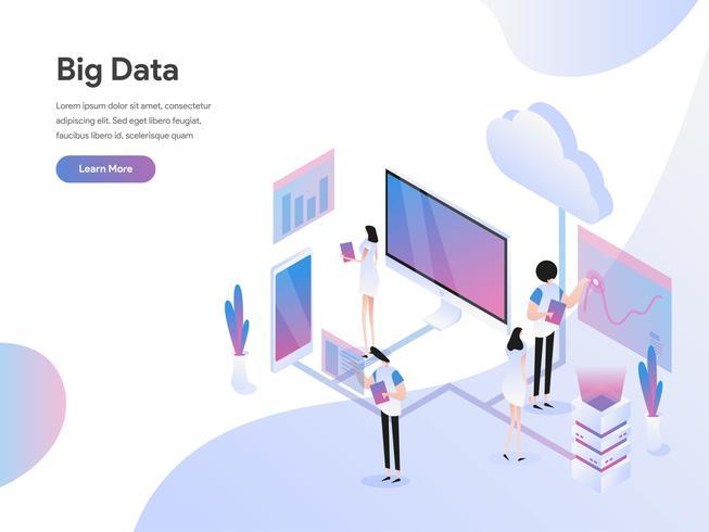 Modèle de page d'atterrissage de Big Data Isometric Illustration Concept. Concept de design plat isométrique de la conception de pages Web pour site Web et site Web mobile. Illustration vectorielle