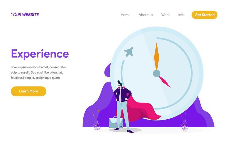Plantilla de la página de aterrizaje del concepto de ilustración de experiencia de trabajo. Concepto de diseño plano moderno de diseño de página web para sitio web y sitio web móvil. Ilustración de vector