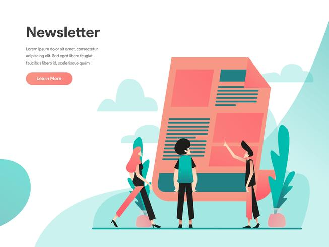 Nieuwsbrief illustratie concept. Modern vlak ontwerpconcept Web-paginaontwerp voor website en mobiele website Vector illustratie Eps 10