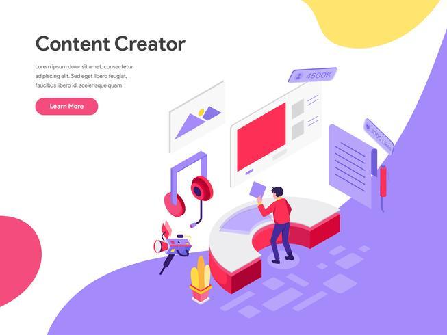 Plantilla de página de aterrizaje de Content Creator Illustration Concept. Concepto de diseño plano isométrico de diseño de página web para sitio web y sitio web móvil. Ilustración de vector