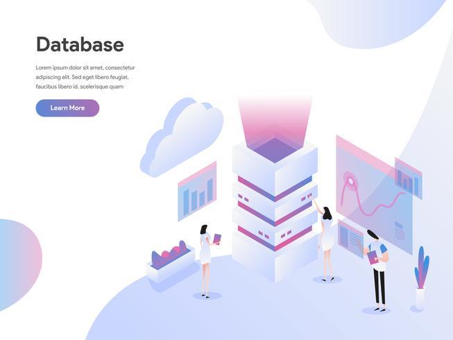 Modello di pagina di destinazione del concetto di illustrazione isometrica del server di database. Concetto di design piatto isometrica della progettazione di pagine Web per sito Web e sito Web mobile. Illustrazione di vettore