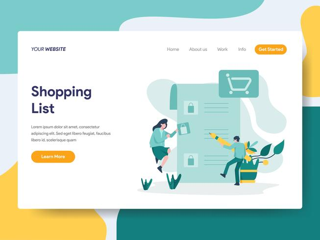 Landing page template of Shopping List Illustration Concept. Modern flat design concept of web page design for website and mobile website.Vector illustration