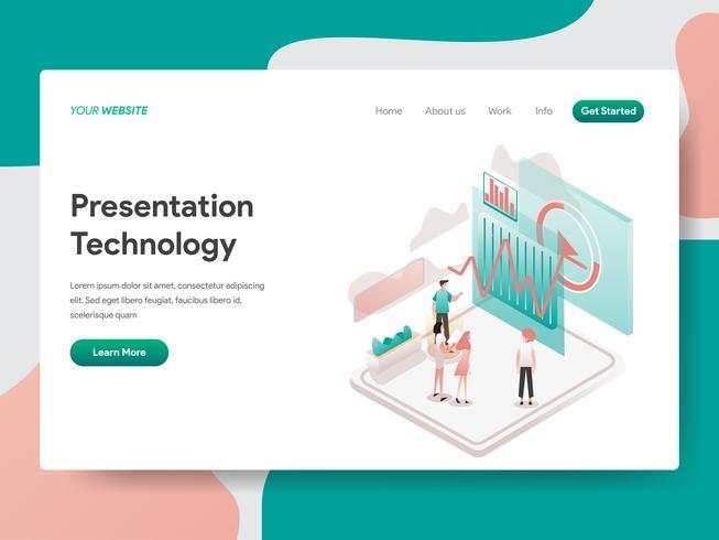 Plantilla de la página de destino del concepto de ilustración de tecnología de presentación. Concepto de diseño isométrico de diseño de página web para sitio web y sitio web móvil. Ilustración de vector