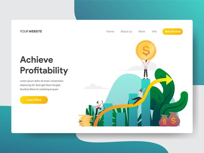 Landing page template of Achieve Profitability Illustration Concept. Modern flat design concept of web page design for website and mobile website.Vector illustration vector