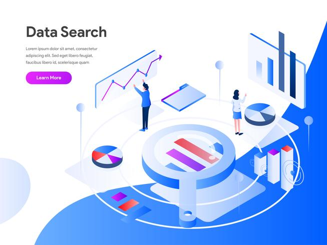 Data Search Isometric Illustration Concept. Modern flat design concept of web page design for website and mobile website.Vector illustration EPS 10 vector