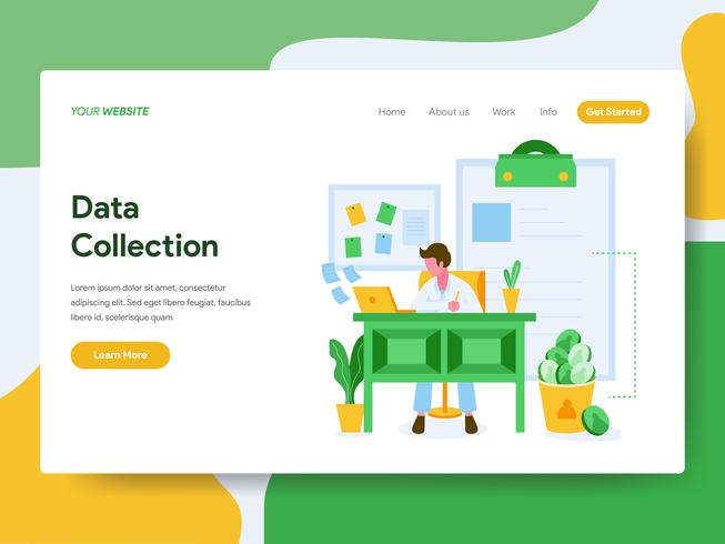 Landing page template of Data Collection Illustration Concept. Modern Flat design concept of web page design for website and mobile website.Vector illustration vector