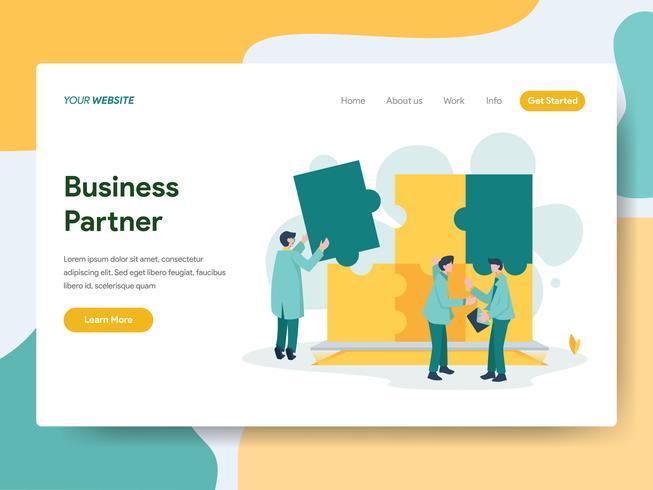 Modello della pagina di atterraggio del concetto dell'illustrazione del socio commerciale. Moderno concetto di design piatto di progettazione di pagine Web per sito Web e sito Web mobile. Illustrazione di vettore