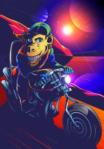 Motociclista do chimpanzé do espaço