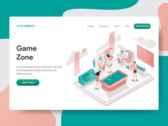 Molde da página da aterrissagem do conceito da ilustração da sala da zona do jogo. Conceito de design isométrico do design de página da web para o site e site móvel.