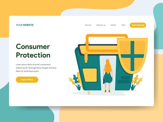 Plantilla de página de destino del concepto de ilustración de protección al consumidor. Concepto de diseño plano moderno de diseño de página web para sitio web y sitio web móvil. Ilustración de vector